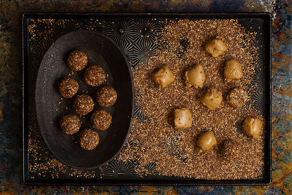 Blond Chocolate, Tahini and Sesame Truffles