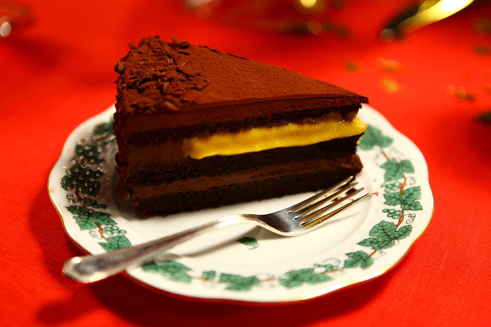Passion Fruit, Mango and Chocolate Cake