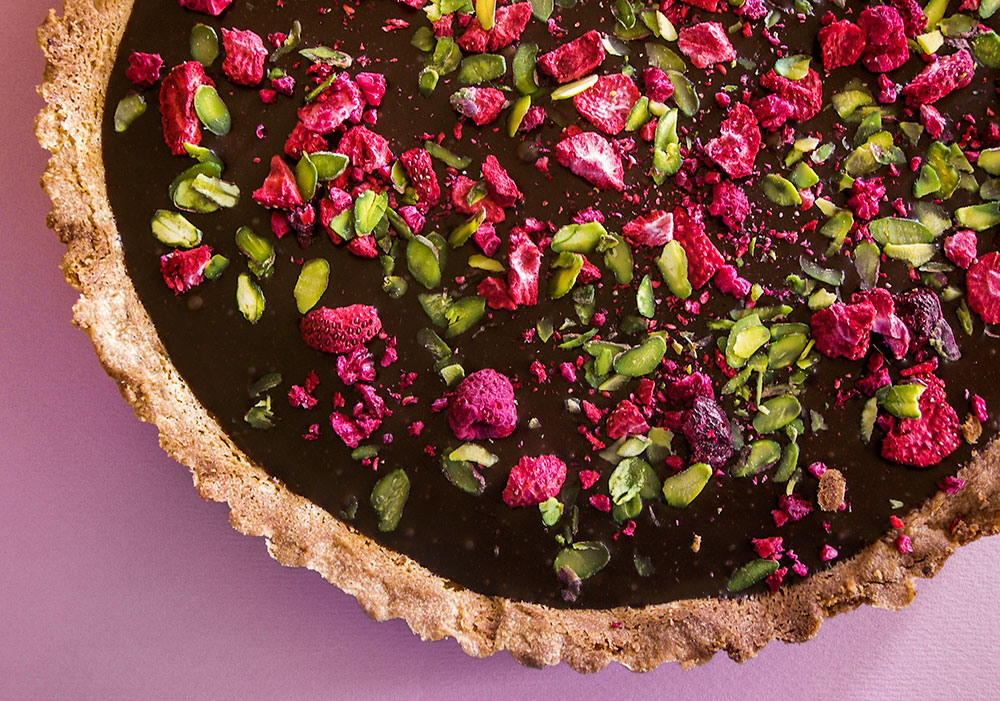 Chocolate Ganache Tart with Dried Berries & Pistachios