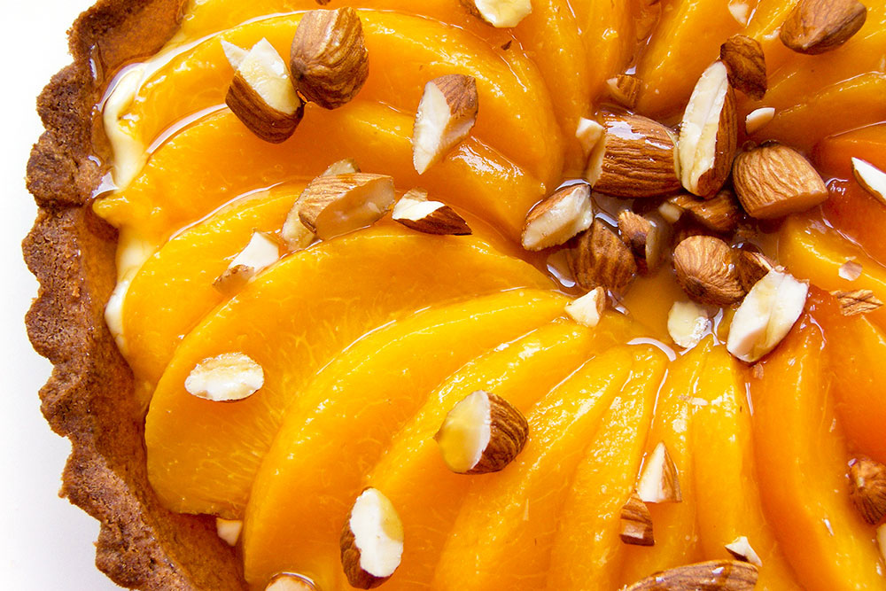 Peach Tart with Almonds and Maple Syrup
