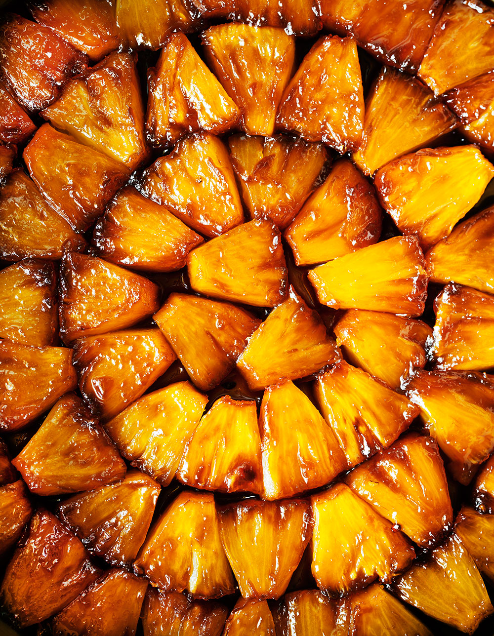 Pineapple and Coconut Upside-Down Cake - Fruit Layer