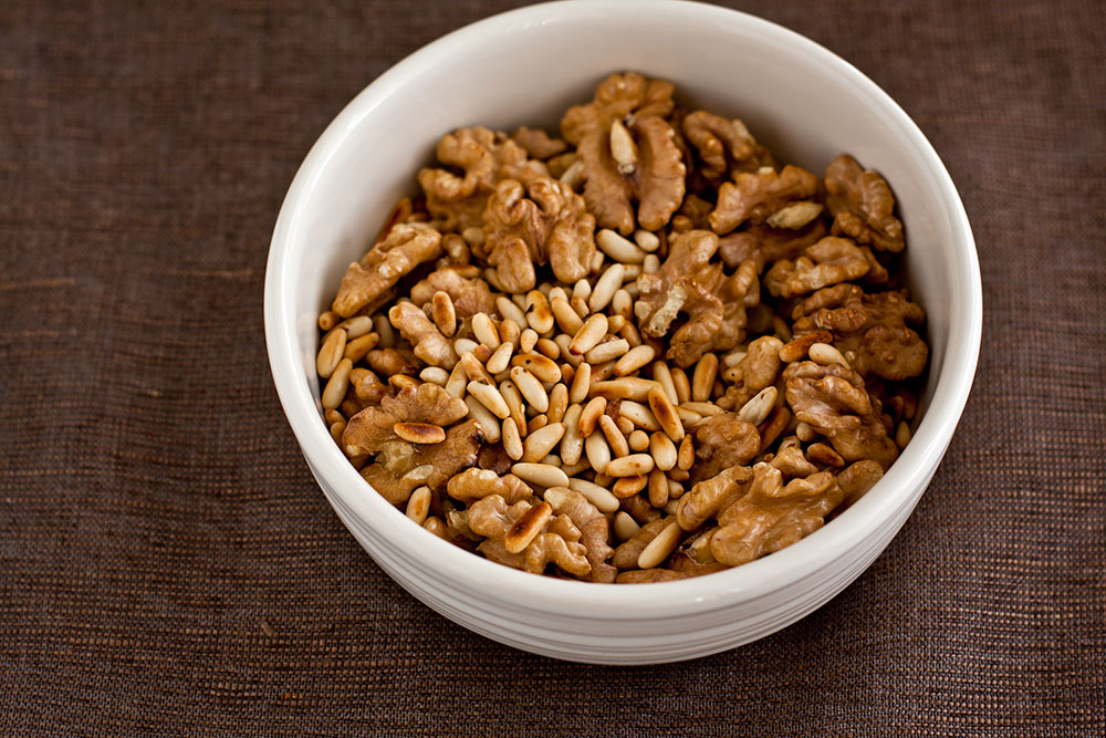 Pine nuts and walnuts