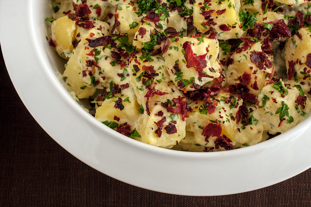Potato Salad with Crunchy Pastirma