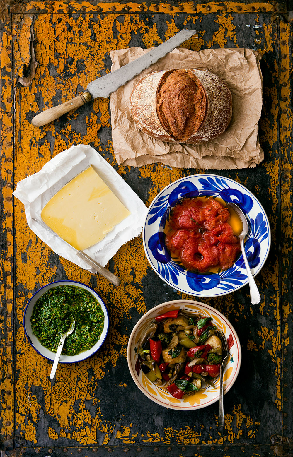 Tomato Confit, Pesto and Oven-Roasted Vegetable Sandwich - Ingredients