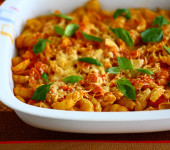 Baked Pasta with Tomatoes, Mozzarella and Aged Gouda