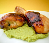 Orange Chicken Drumsticks and Pea Puree