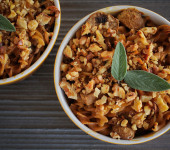 Pasta Gratins with Goat Cheese, Sage and Mushrooms