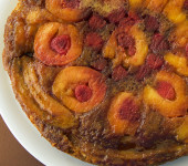 Peach, Raspberry and Banana Upside Down Cake