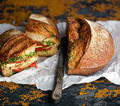 Tomato Confit, Pesto and Oven-Roasted Vegetable Sandwich