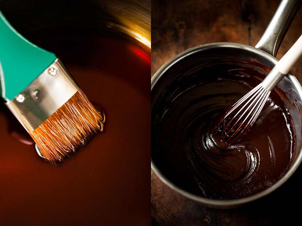Karamel şurup ve çikolatalı harç